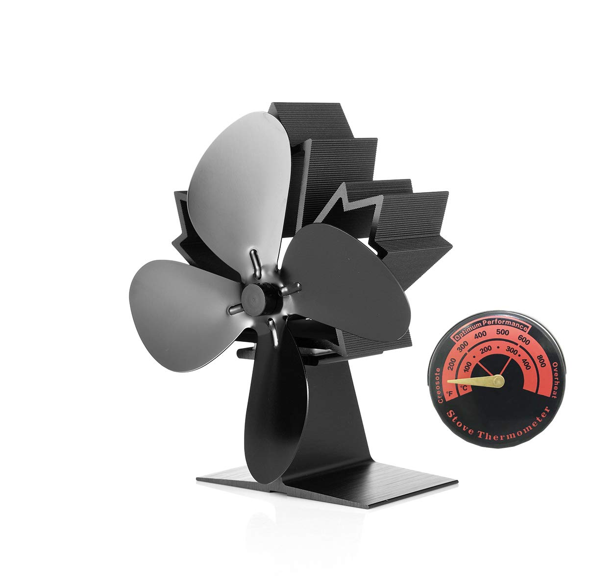 G G-WEI Heat Powered Stove Fan 4 Blades Fireplace Fan, 50°C Heating Silent Wood Stove Fans for Wood/Log Burner/Fireplace, Wood Burning Eco-Friendly Fan and Full Heat Distribution (2018 Style)
