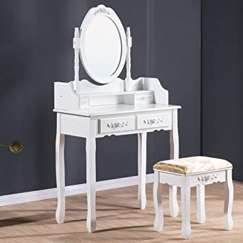 Luxes Luxury White Dressing Table With Mirror And Stool Vanity