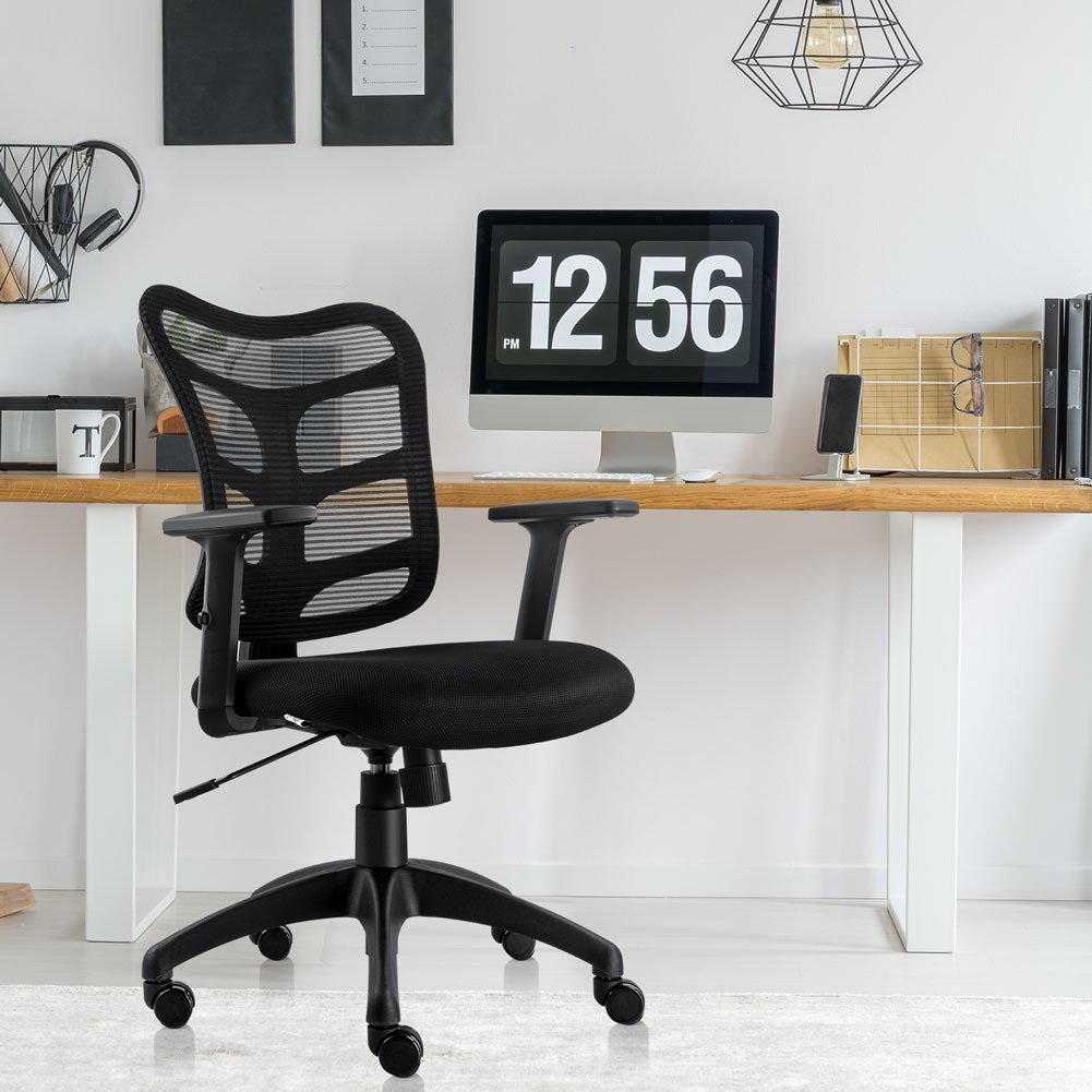 NKV Ergonomic Office Chair Mesh Computer Desk Chair Swivel Task Chair with Adjustable Armrests (Black) by NKV (Image #7)