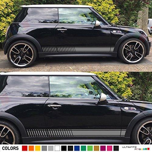 2x Decal Sticker Vinyl Side Racing Stripes Compatible with Mini Cooper Hatch Hardtop 2001-2016 JCW
