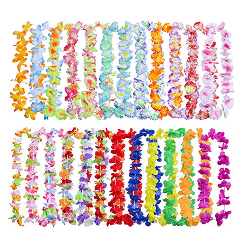 - JSSHI 36 Counts Hawaii Wreaths Leis,Tropical Hawaiian Luau Artificial Flower Leis Necklaces Hawaiian Theme Party Supplies Party Favors, Assorted Colors(3 Dozens)