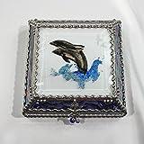 Dolphins, Stained Glass Jewelry Box, Presentation Box, Keepsake Box, Glass Jewels, Swarovski Crystals, USA Made