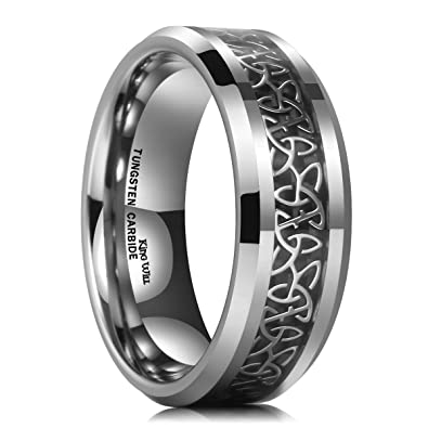 Tungsten Carbide Wedding Bands For Men | King Will 8mm Tungsten Carbide Ring Wedding Band For Men Inlay