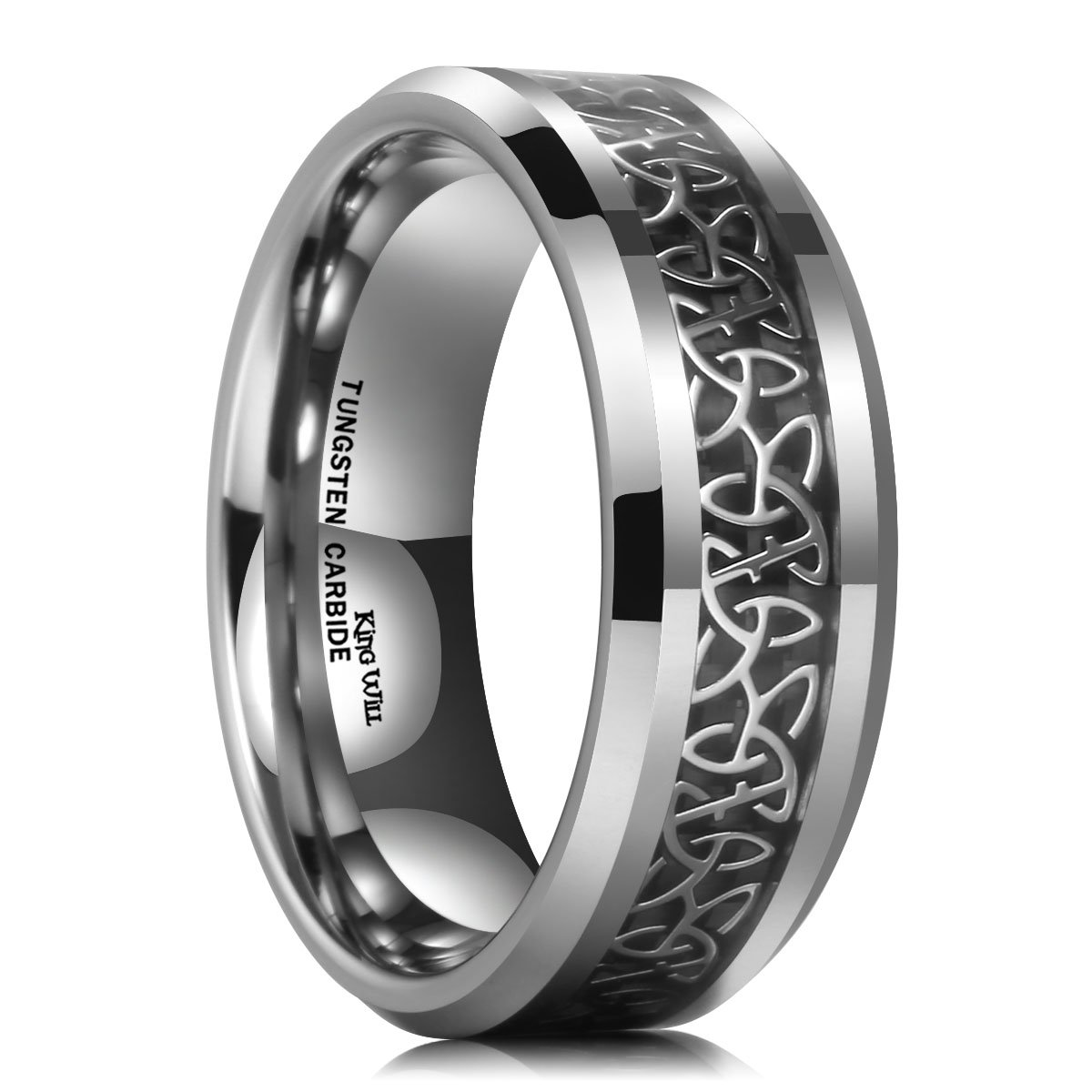 VAKKI Mens 8mm Laser Celtic Knot Brushed Tungsten Carbide Wedding Band Rings Polished Step Edge Size 6-14