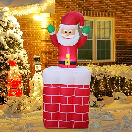 - GABOSS 6 Ft Animated Inflatable Santa in Chimney with a Pop-Up,Home Outdoor Lawn Yard Christmas Decorations