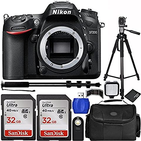 Nikon D7200 DSLR Camera Body Bundle with Carrying Case and Accessory Kit (10 Items) (Nikon D7200 Body)
