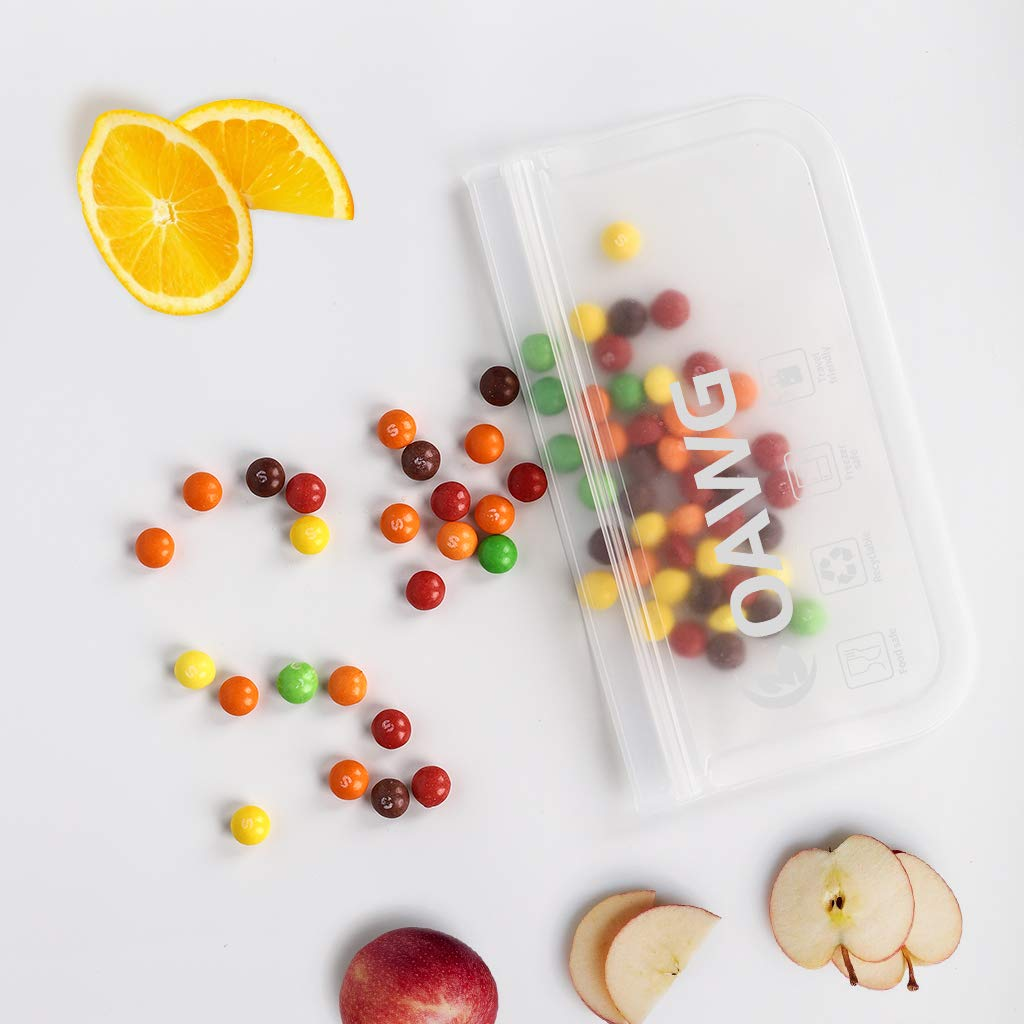 Bolsas de S/ándwiches sin BPA Bolsas de Almacenamiento de Alimentos Zumo de Frutas COAWG Bolsas de Almacenamiento para Alimentos Reutilizables Snacks Verduras Frutas Viaje Llevar-10Pcs