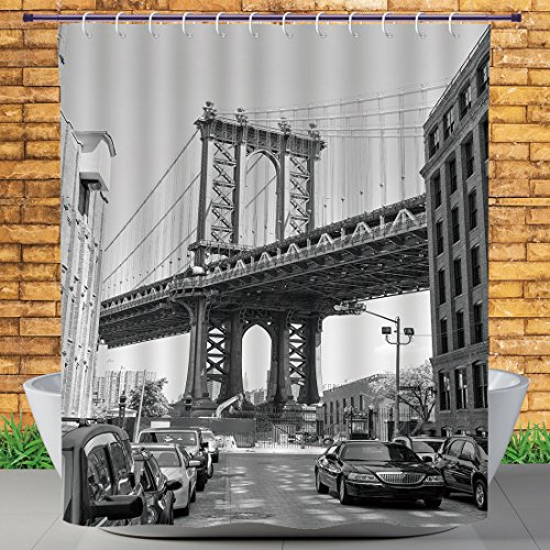 Homenon Fabric Shower Curtain by, Landscape,Brooklyn New York Usa Landmark Bridge Street with Cars Photo,Black White and Charcoal Grey,Bath Curtain Design (72