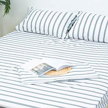 Homelike Collection 4 Piece Striped Bed Sheet Set (Queen Size,White/Grey)