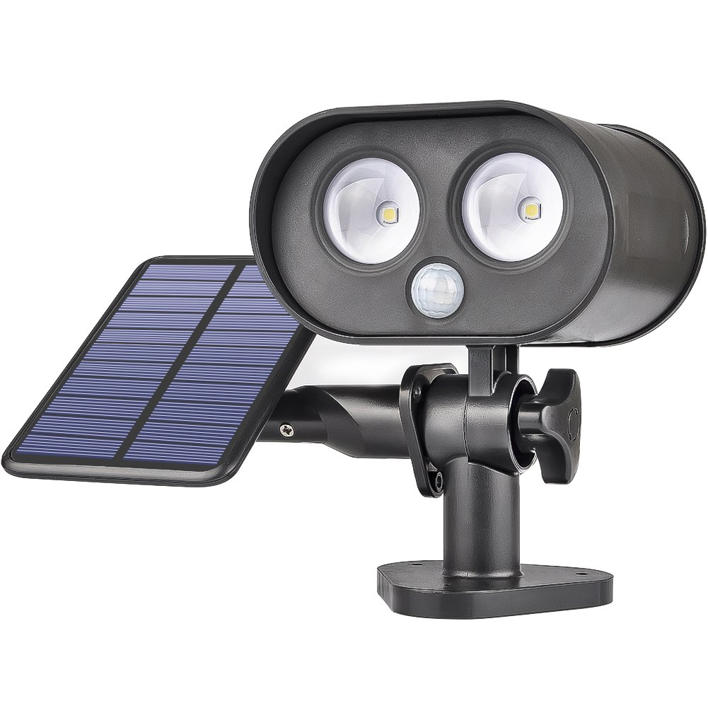 LEPOWER Solar Motion Lights, 250LM Led Motion Security Light Wall Lamp, 6000K, IP65 Waterproof, Adjustable Head, Auto-induction for Door, Aisle, Yard, Garage, Garden and Walkway,Gateway