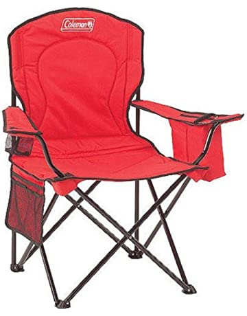 d892e076e1c3 Coleman Portable Camping Quad Chair with 4-Can Cooler (Red/Set of 2