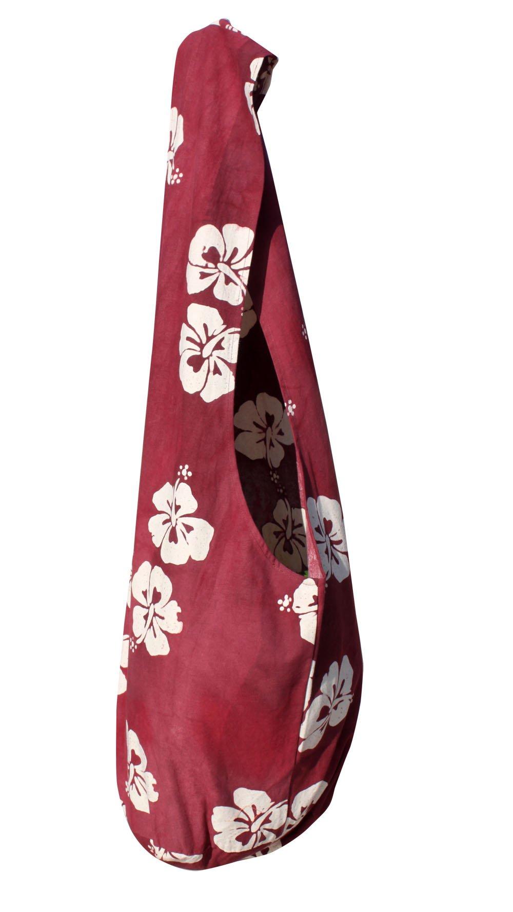 RaanPahMuang Thai Yaam Shoulder Bag Hawaiian Flower Tie Dye, X-Large, Wine Red