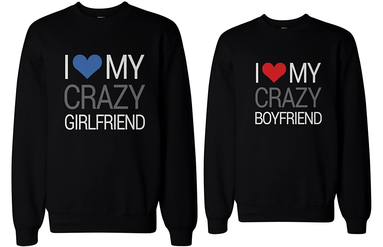 Amazon.com: His and Her I Love My Crazy Boyfriend and Girlfriend Matching Sweatshirts for Couples: Clothing
