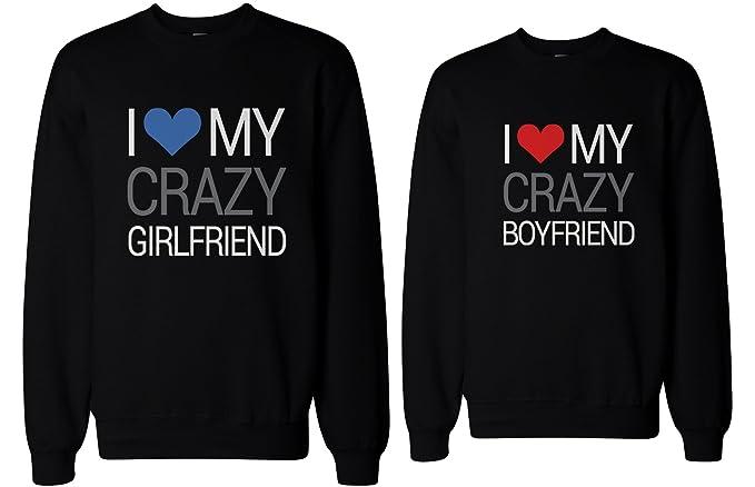 Su y su I Love My Crazy NOVIO y novia a juego Sudaderas para parejas -