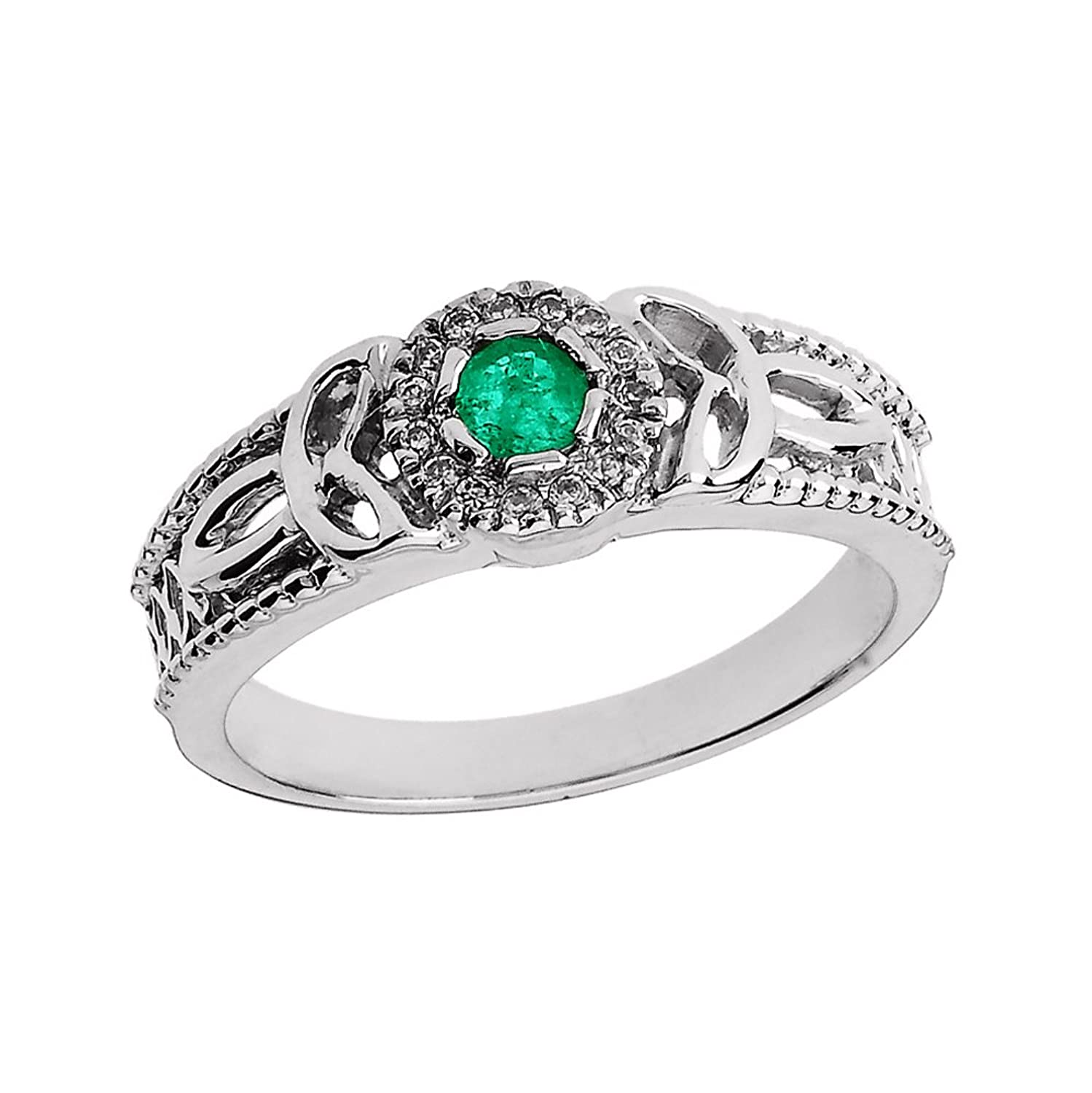 10k White Gold Emerald and Diamond Ladies Trinity Knot Proposal Ring