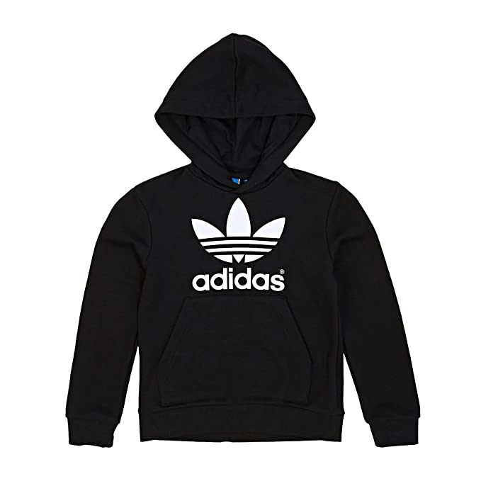 Black Adidas Originals Junior Trefoil logo hooded sweatshirt Hoodie AO0074