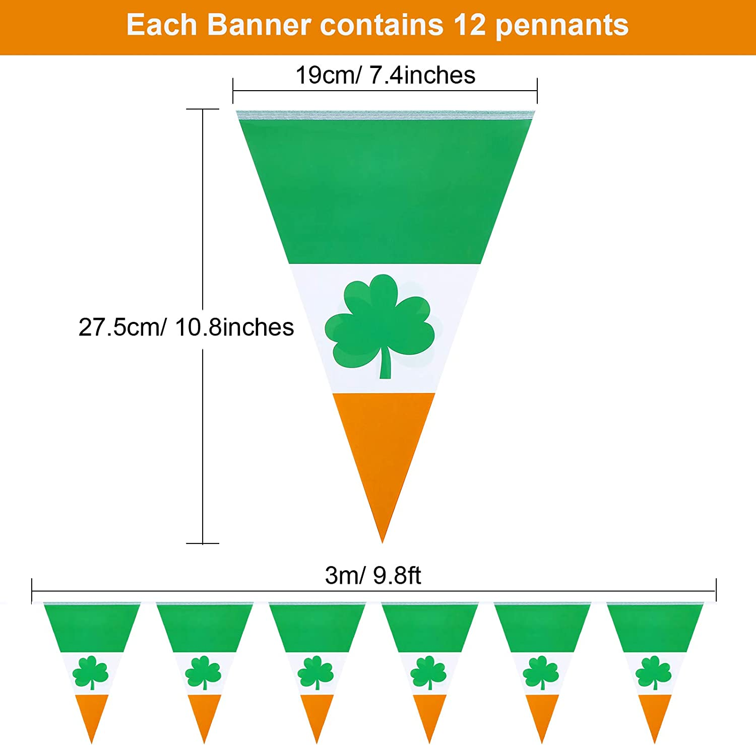 5 Pieces St Patricks Day Shamrock Pennant Banners Irish National Day Triangle Flags Luck Green Clover Flag Banners Party Accessories for St Patricks Day Theme Decor Outdoor Indoor 7.4 x 10.8 Inch