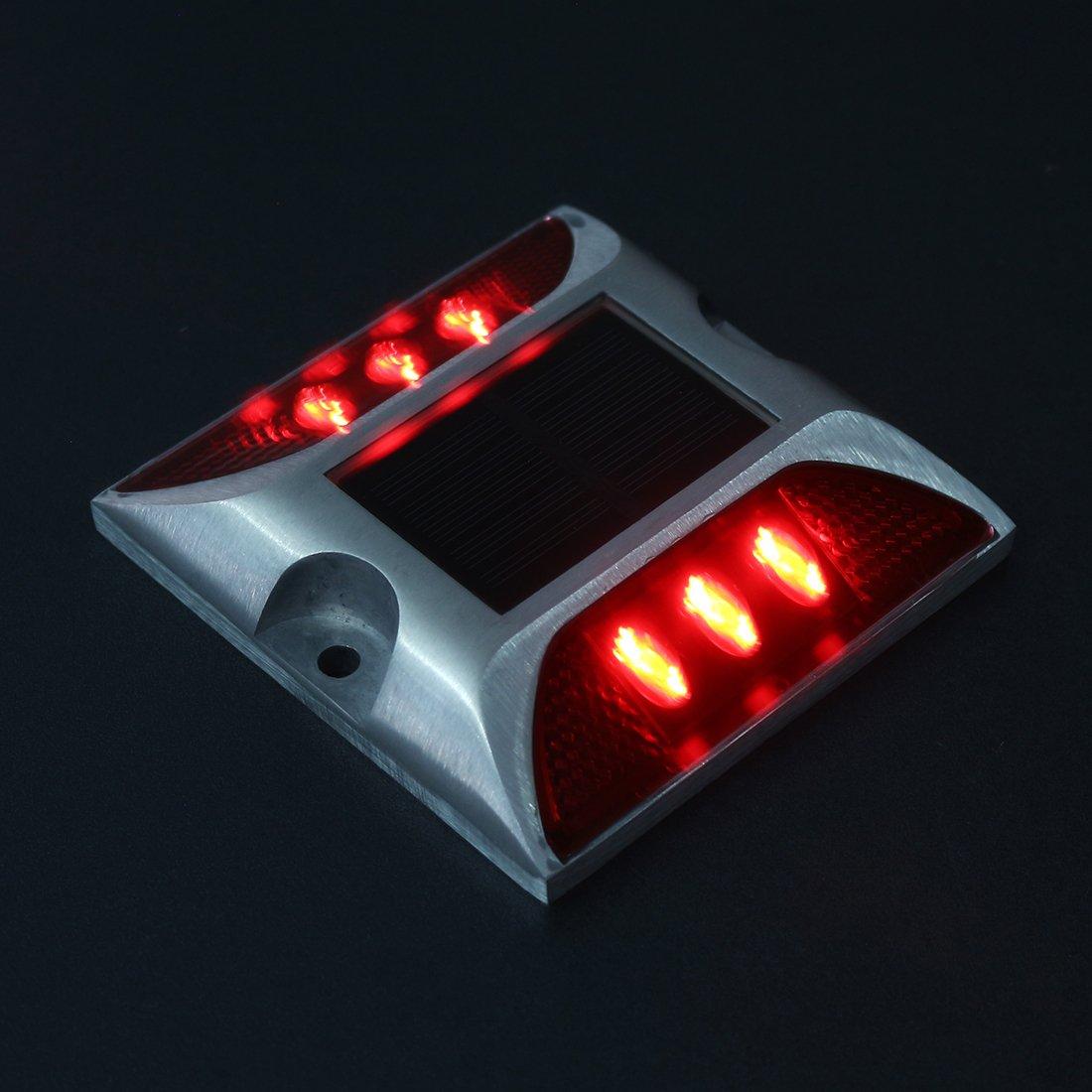 uxcell 2pcs LED Solar Road Stud Light Marker Lighting Security Warning Lamp 6LED Blue