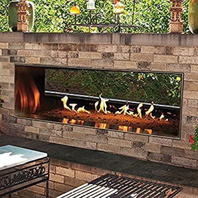 "Outdoor 60"" SS Manual See-Through Linear Fireplace - Natural Gas"