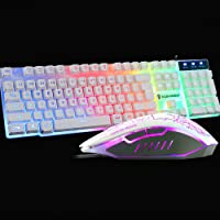 Ergonomic T6 Gaming Keyboard and Mouse Set for PC Laptop Rainbow Backlight USB (White)