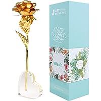 Wisolt 24K Gold Rose, verbesserte Lange Stem Gold Foil Rose mit herzförmigen Display-Ständer, Einzigartige Geschenke für sie, Mädchen, Frau, Mama