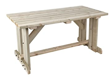 MC TIMBER PRODUCTS LTD Mesa de picnic de madera natural para jardín, mesa de barbacoa