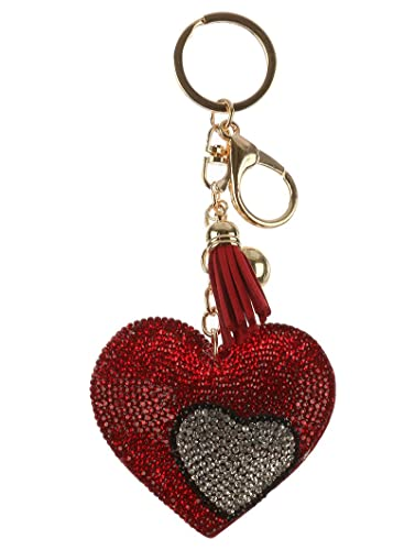 Glittery Love Heart Keyring Sparkly Stone Key Chain Pretty Accessory