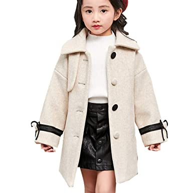81acfa7c0 Amazon.com  YOBEBE Kids Little Girl s Wool Outerwear Coat Winter ...