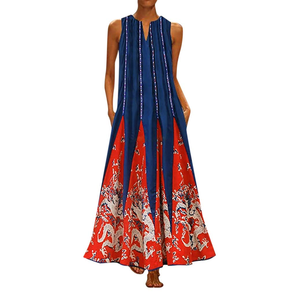 【MOHOLL】 Women's Floral Print Flowy Party Maxi Dress Casual Sleeveless Vintage Bohemian V Neck Maxi Dress Red