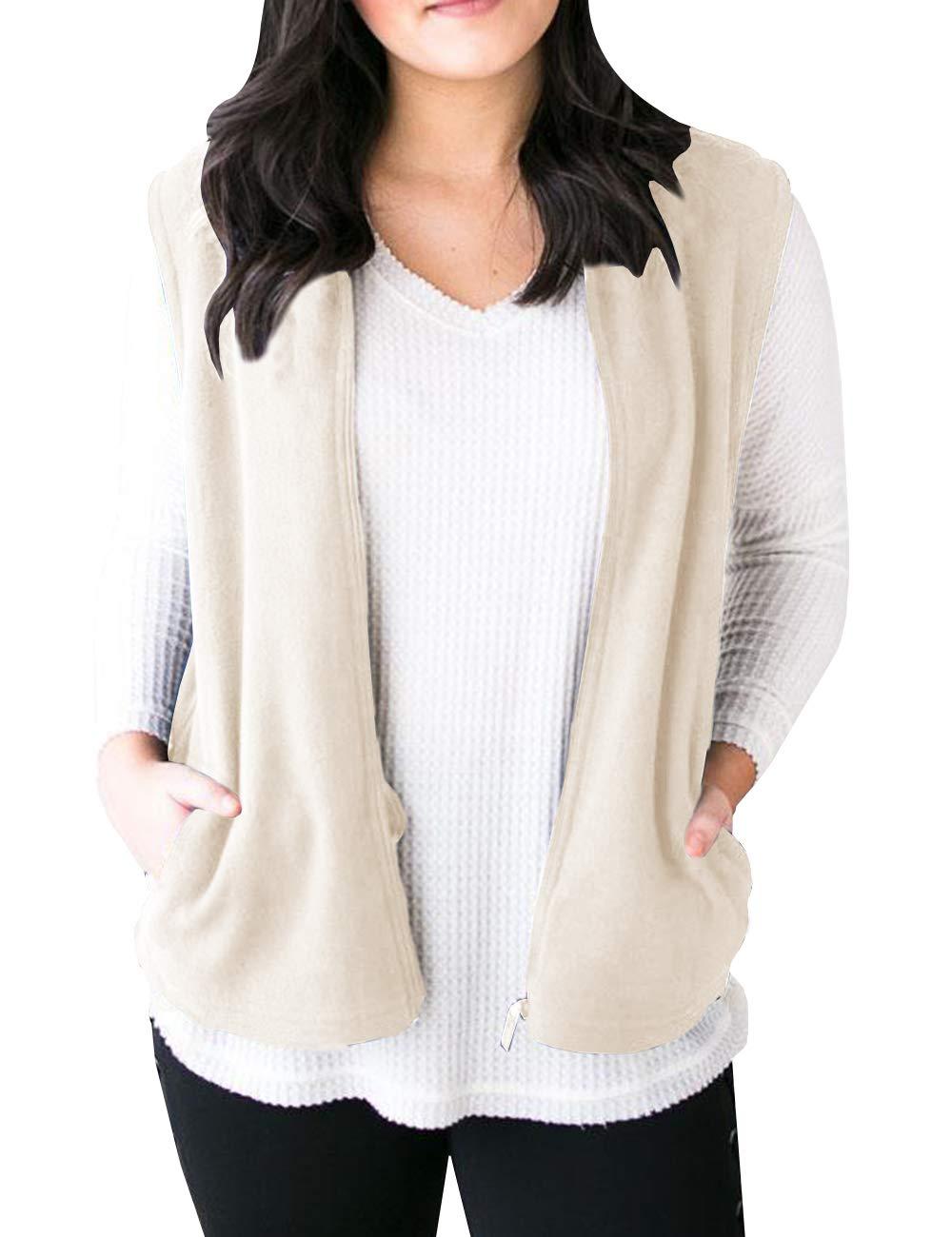 Saodimallsu Womens Open Front Sleeveless Cardigan Sweater Zip up Fleece Vest Outwear with Pockets