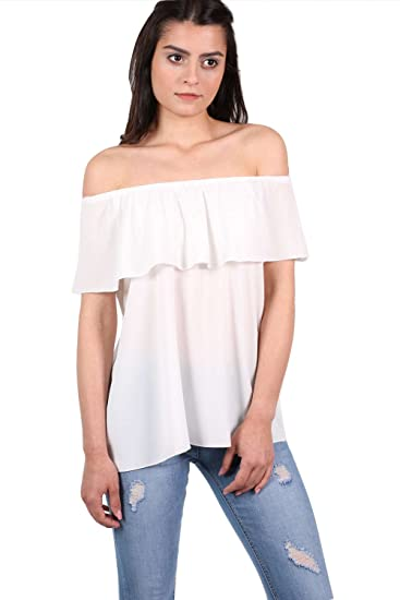 5d1f89a9b91739 PILOT Gypsy Frill Bardot Top in Ivory White at Amazon Women s Clothing  store