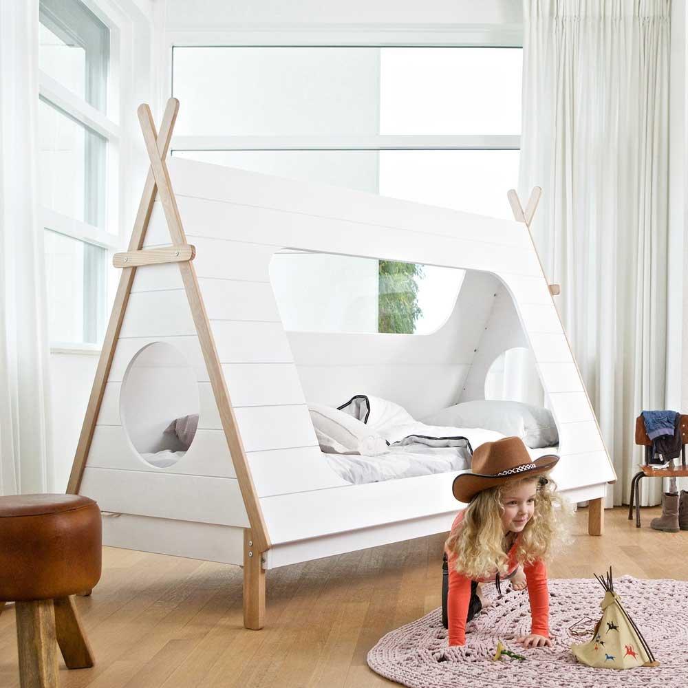 Tipi Kinderbett aus Kiefer Massivholz Weiß Pharao24