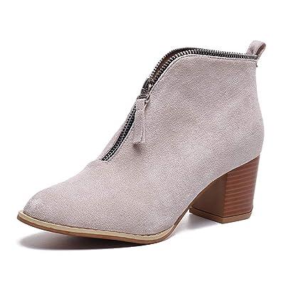 0184f16eb21 Minetom Boots Femme Talon Bottine Femmes Hiver Daim Cuir Bottes Chelsea Low  Chic Cheville Compensées Grande