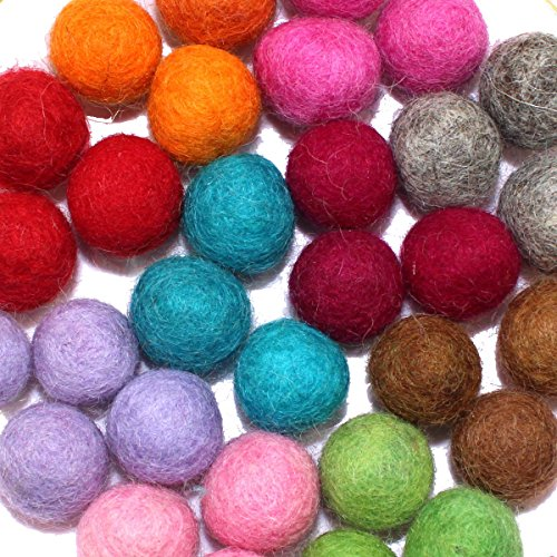 Felt Balls Natural Wool Felting Felted Beads Mixed - Colorful Felting Wool