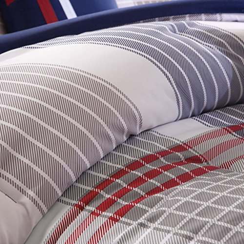 Red Blue Grey Plaid Comforter Boys Teen Bedding Set Pillow