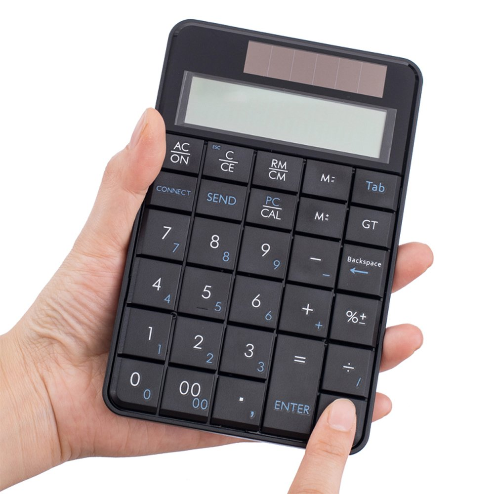 I Focus 2 in 1 Wireless Numeric Keypad with Calculator Function USB Financial Accounting Numpad Solar Power 29 keys Number Pad for Laptop Desktop PC Windows XP