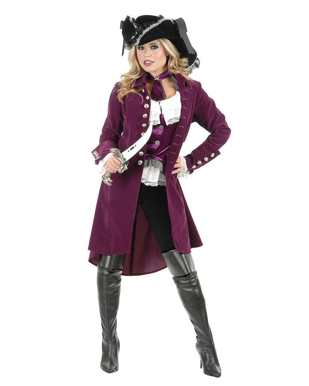 Women's Plum Pirate Vixen Coat - DeluxeAdultCostumes.com