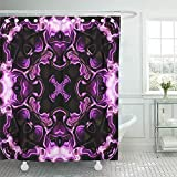 72''x72'' Shower Curtain Waterproof Decorative Collection Colorful Fantasy Shining Purple Jewel Fractal Kaleidoscopic Pattern Pink Mirror Shower Hooks Set are Included