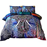 Color Elephant for Adults Bedding Retro Vintage Print Design Duvet Cover Sets 3D Bedding Sets Sexy Animal Print Duvet Cover Set Brushed Polyester Bedding Duvet Cover Set Twin XL Size 3 Pieces