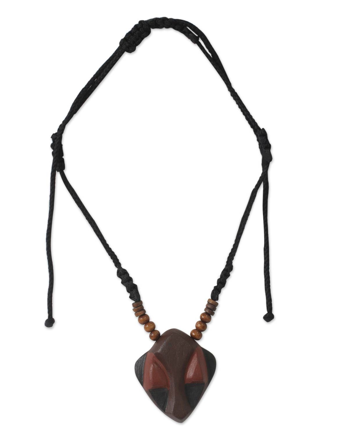 NOVICA Wood Men's Pendant Necklace, 24'' 'Ancestral Mask'