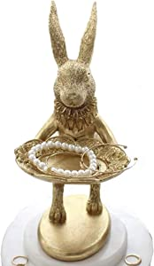"Lemonadeus Golden Rabbit Jewelry Dish Gold Rings tray Home Decor Accent Animals Jewelry Display Organizer Holder Small Furnishings Rabbit Sculptures (Golden Standing Rabbit 6"")"