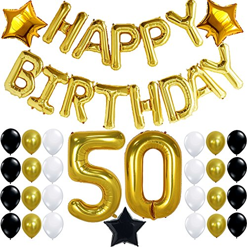 Happy 50th Birthday Balloon - 50th BIRTHDAY PARTY DECORATIONS KIT - Happy Birthday Foil Balloons, 50 Number Balloon Gold, Balck Gold and White Latex Balloons,Perfect 50 Year Old Party Supplies, Free Bday Printable Checklist