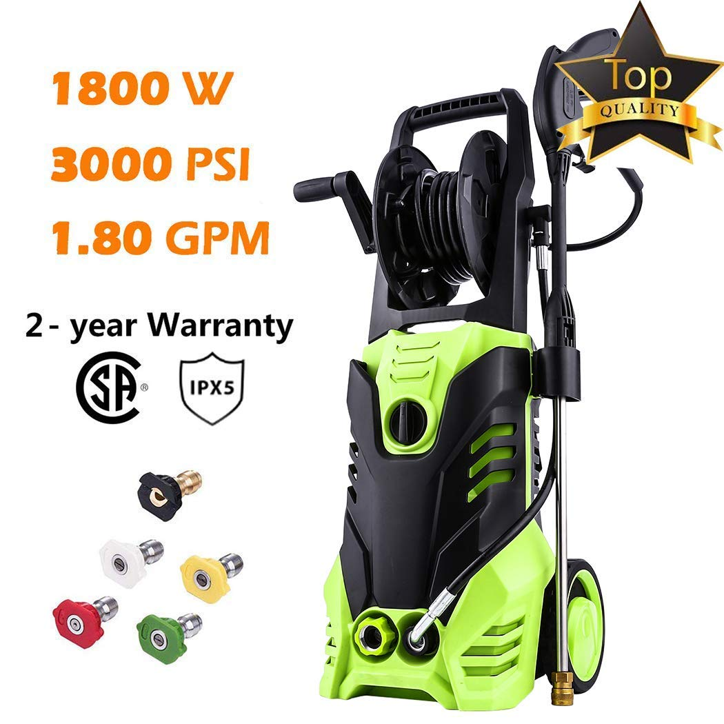 Homdox 3000 PSI Electric Pressure Washer, High Pressure Washer, Professional Washer Cleaner Machine with 4 Interchangeable Nozzles,1.80 GPM,Green 1800W by Homdox