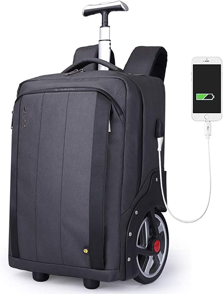 """Aoking Large Capacity Waterproof 18"""" Laptop Trolley Backpack with USB Charing Port Fashion Rolling Luggage for Business Office Travel College"""