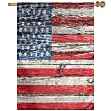 HUANGLING Fourth Of July Independence Day Painted Wooden Panel Wall Looking Image Freedom Decorative Home Flag Garden Flag Demonstrations Flag Family Party Flag Match Flag 27''x37''