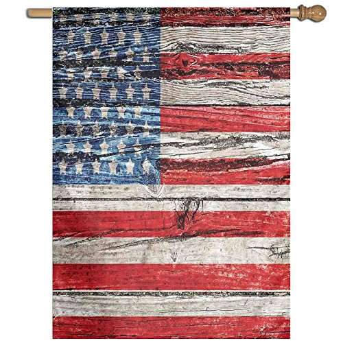 HUANGLING Fourth Of July Independence Day Painted Wooden Panel Wall Looking Image Freedom Decorative Home Flag Garden Flag Demonstrations Flag Family Party Flag Match Flag 27''x37'' by HUANGLING