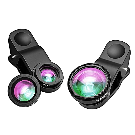 VicTsing 3 in 1 Clip-on 180 Degree Fisheye Lens Plus Wide Angle Lens Plus Macro Lens iPhone Camera Lens Kits for iPhone 8, Android and Smartphones with Flat Camera