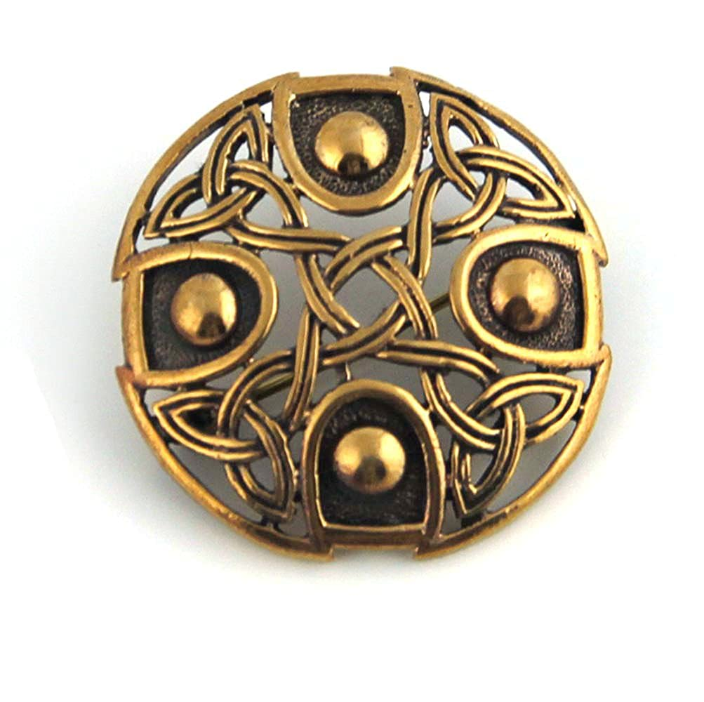 Bronze Gold Viking Shield Brooches ,Clothes Fasteners - Cloak, Shawl, Scarf Pin, Celtic Irish Norse Vintage Jewelry LynnAround B0761K53HX_US