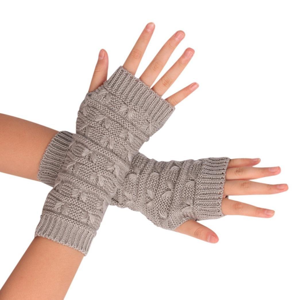 Lavany Women's Knitted Arm Fingerless Gloves Man Winter Warm Mittens