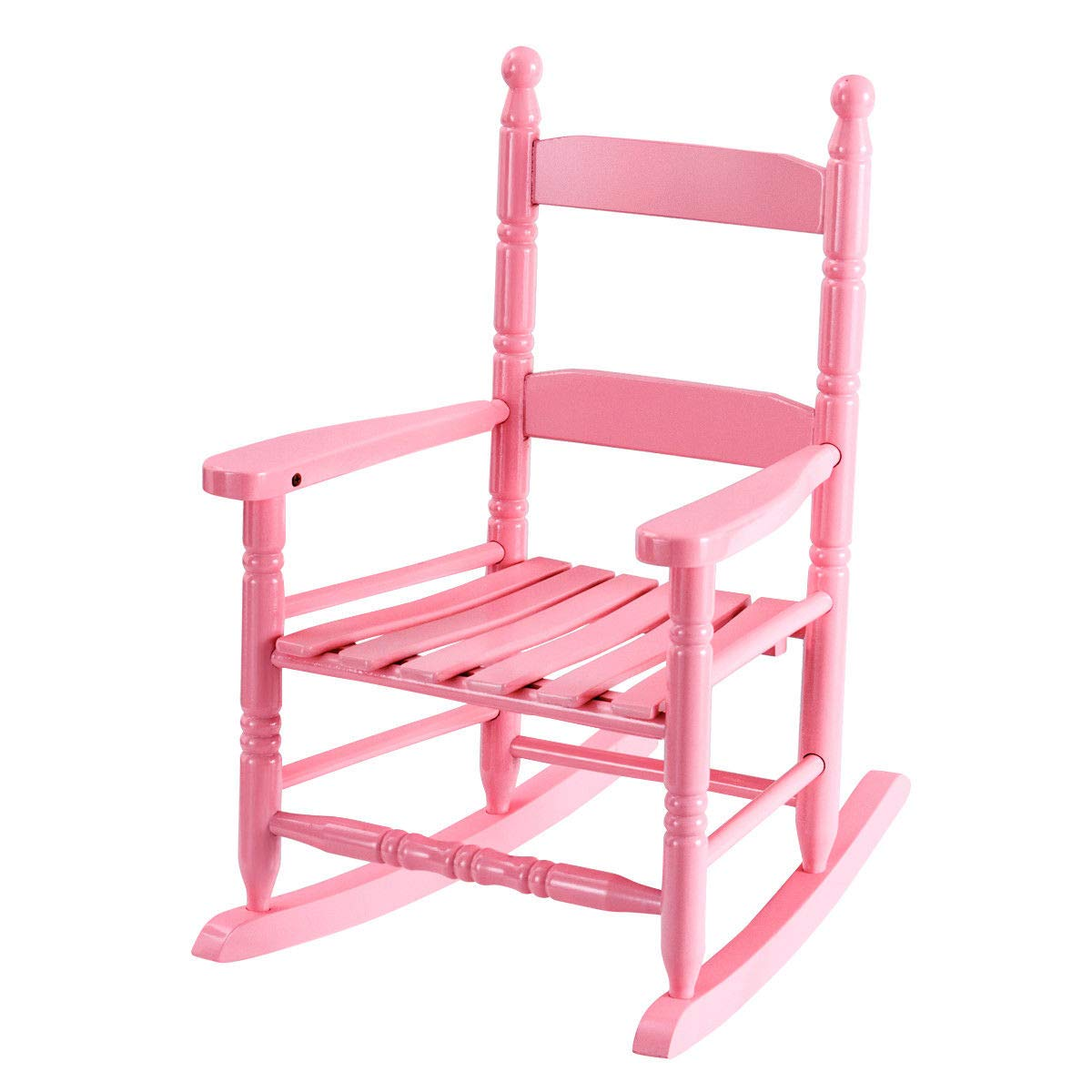 Child Rocking Chair Wooden Rocker for Aged 56-96 Months Pink by BWM.Co